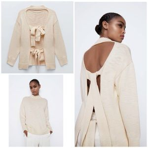 Zara Knit OPen Back Relaxed Fit High Neck Sweater